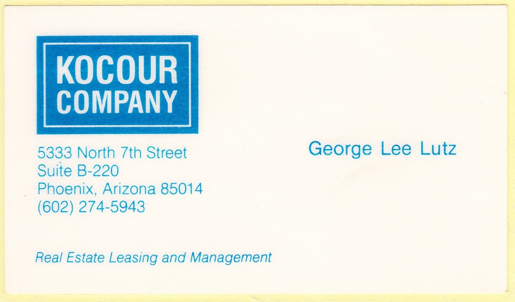 George Lee Lutz 1986 Business Card